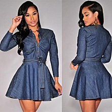 Jeans shirt Slim women long sleeve dress Girl waisted blouse