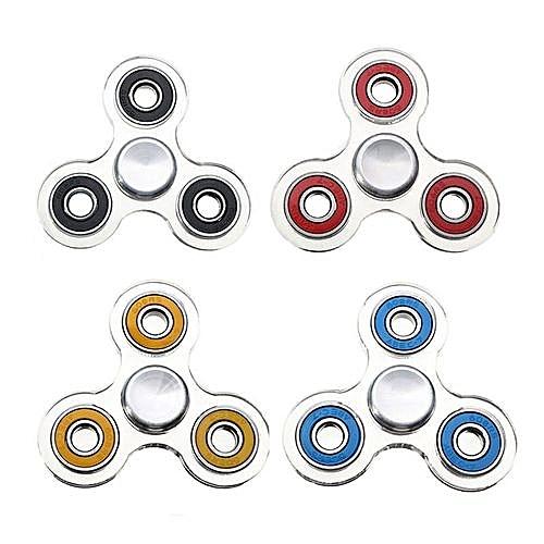 Transparent Finger Spinner Tri Fidget Hand Spinner Adult Kids Stress Relief Toy (Random Color)