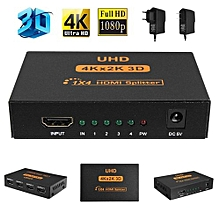 4K*2K 3D 1x4 Port HDMI Splitter Ultra HD Switcher Transmitter Hub Adapter Switch US