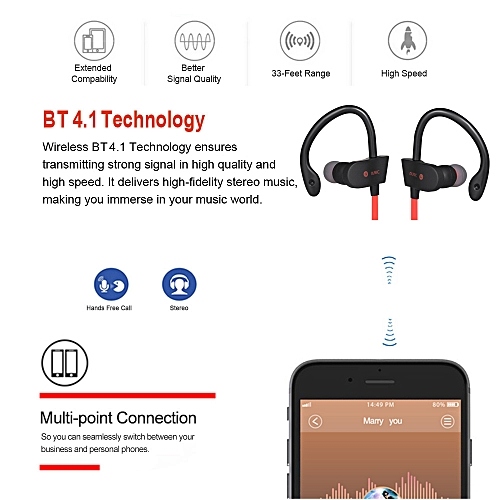 795f3d6579c Generic 56S Wireless Bluetooth Earphone In-Ear Sports Sweatproof Earphones  Stereo Earbuds Headset with Mic for iPhone Smartphone Tablet Red