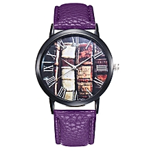 Watch Women's Fashion Casual PU Leather Strap Analog Quartz Round Watch-Purple