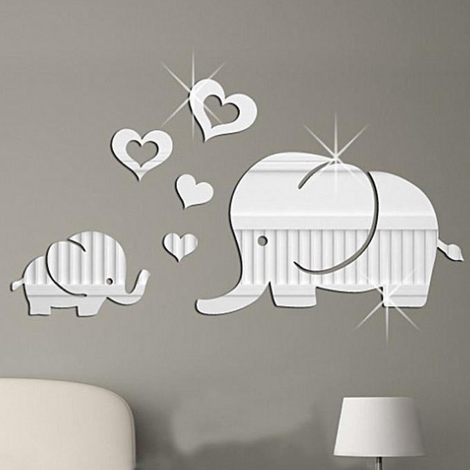 allwin love baby elephant mirror wall stickers silver silver @ best