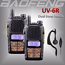 2 x BAOFENG UV-6R Dual Band Portable UHF/VHF Ham Radio 136-174/400-520Mhz Walkie Talkie