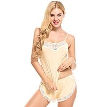 Women Two Piece Cami Set Lace Patchwork Elastic Waist Pajamas Sleepwear ( Champagne )