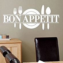 Bon Appetit Art Quote Living Room Kitchen Vinyl Wall Mural Decal Sticker -White