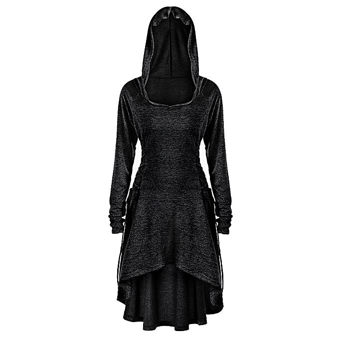 bce38d1d507e4 Fashion Plus Size Lace Up Dip Hem Hoodie - BLACK   Best Price ...