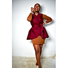 Burgundy Sleeveless Scuba Coat