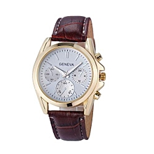 Olivaren Geneva Business Crocodile Leather Analog Quartz Unisex Wrist Watch BWBrown