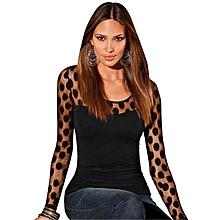 Fashion Women Long Sleeve Polka Dot See Through Slim Fit Blouse Top T-Shirt.,