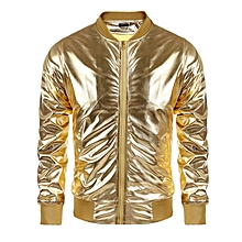 Men Metallic Nightclub Style Zip Up Baseball Bomber Jacket-Gold