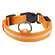 Safety Pet Collar For Lighted Up Nylon Solid LED Dog Collar Glow Necklace OR/S