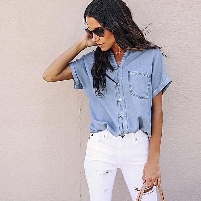 a42538e1f89 Hiamok Women Casual Soft Denim Shirt Tops Blue Jean Button Short Sleeve  Blouse Jacket