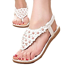 5ebb80527381 Summer Bohemia Sweet Beaded Sandals Clip Toe Sandals Beach Shoes WH 35 -  White - 8