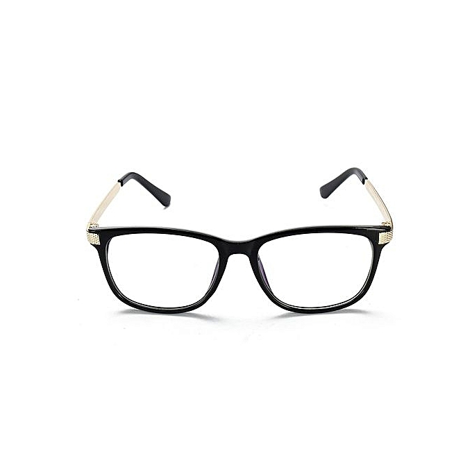 183dd1623a5 Retro Unisex Eyeglass Frame Full-Rim Glasses Clear Lens Metal Women Men  Designer Bright Black