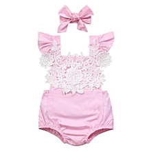 Kidlove Newborn Girl's Lace Flowers Bodysuit Backless Summer Rompers&handband Pink Size:Sixty
