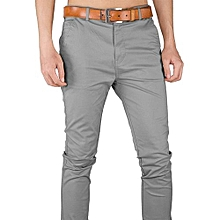 Soft Khaki Trouser Stretch Slim Fit  Casual- Grey