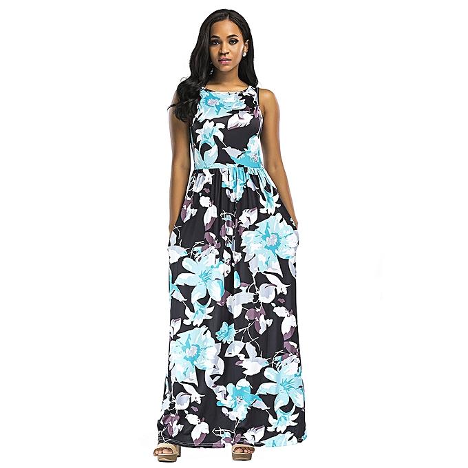 7aaf5df66960 Women Summer Long Maxi Dress Floral Print Sleeveless Boho Beach Dress  Evening Party Sundress Vestidos