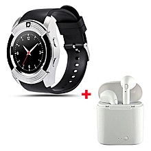 S006 Touch Screen Sports Round Screen Smart Phone Watch with free Wireless earphone - Silver Black