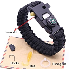 AI Survival Bracelet Compass Flint Fire Starter Whistle Fishing Camping Gear Kits