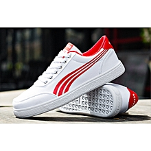 White Rubber Shoes With White Sole -White &Red