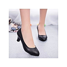 Round Toe Leather High Heel Shoes for Office Lady Women