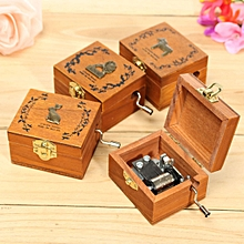 Mini Wooden Novelty Hand Crank DIY Slide Drawer Music Box Birthday Gift-Horse