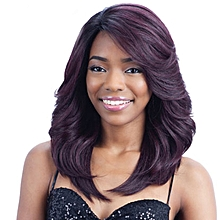 New style Black and purple mixed long curly hair fashion realistic wig-black-purple