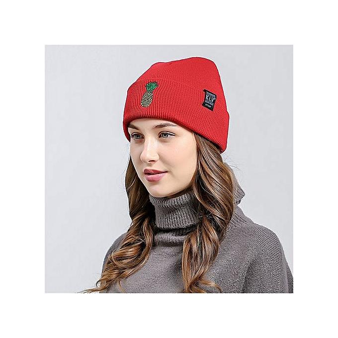 227cf2586b0 Wenrenmok Store Pineapple Embroidered Men Women Baggy Wool Knit Ski Beanie  Hat-Red