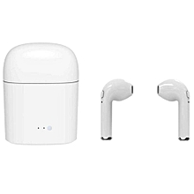 i7s Wireless Earbuds Mini Bluetooth In-ear Earphones Dual Stereo Sweatproof Built-in Mic with Charging Box - WHITE