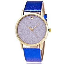 Lady  Leather Wrist Watch Zhoulianfa Fashion Luxury Woman Time Pattern Leather Band Analog Quartz Vogue Watch BU-Blue