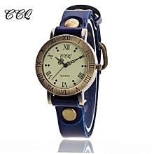 Lady  Leather Wrist Watch CCQ CCQ Fashion Men Date Stainless Steel Leather Analog Quartz Sport Wrist Watch-Blue