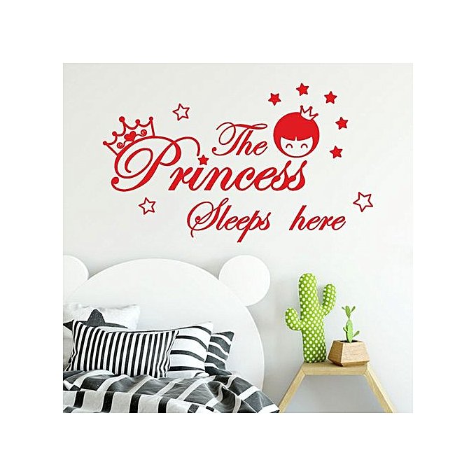 Householding Supplies The Princess Sleeps Here Wall Decals Children's Room  Home Decoration Art-Red