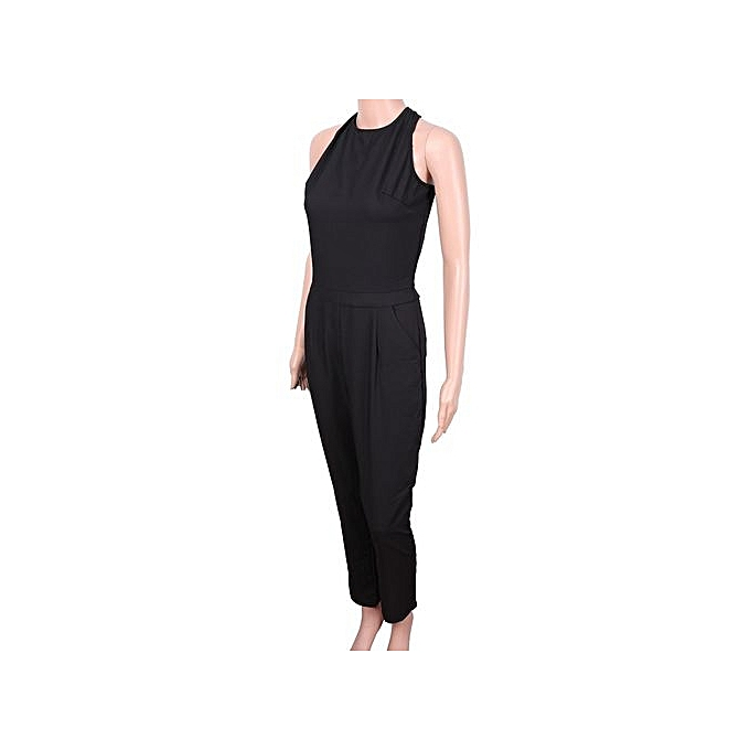 0263a45644 ... Refined Black Sleeveless Jumpsuits Fashion High Street Cut Out Back  Jumpsuit New Spring Summer Fashion Women ...