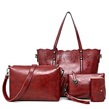 Women PU Leather 4 Pieces Bags Handbag Crossbody Bag Card Holder Wallet