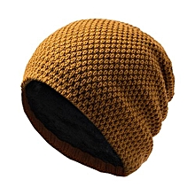 Mens Fashion Soft Winter Warm Thickened Knitting Hats Knit Cap Color:Orange