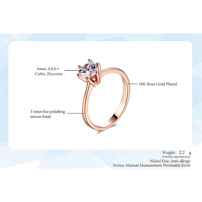 fc99eceeb63 Platinum White Stone > 7.25-Classic Jewelry Fashion Simple Girl Ring Zircon  Micro-plated Rose Gold Engagement Ring