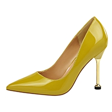 10cm High Heels OL Pumps Women Shallow Thin Heels Patent Leather Formal Shoes (Yellow)