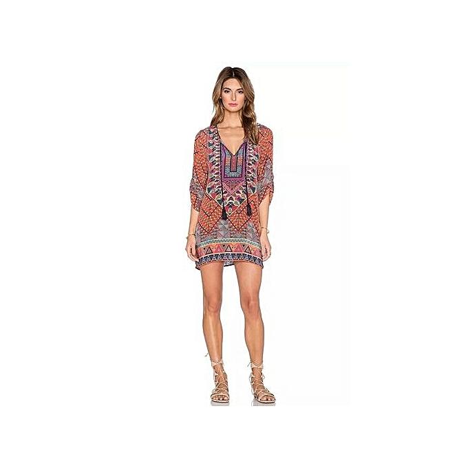 daa6714228 Women 3 4 Sleeves Geometric Pattern Vintage Print Loose Summer Dress