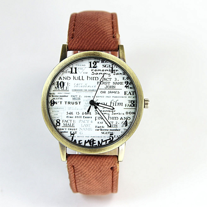 Newspaper Design Pattern Women Leather Watch Quartz WristWatch Coffee