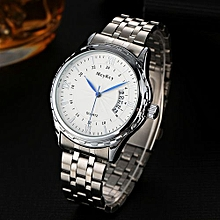 Fashionable Male's Stainless Steel Military Waterproof Army Date Quartz Wrist Watch-Silver