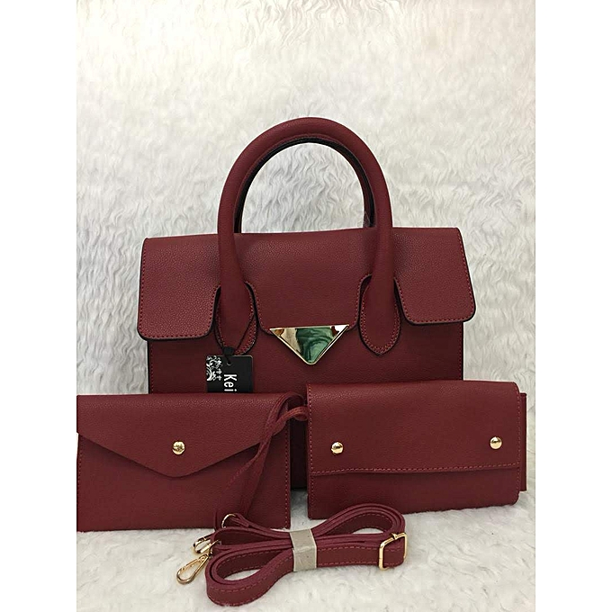 ed5ee3d45c7c Generic Ladies Handbag 3 in 1 - Burgundy   Best Price