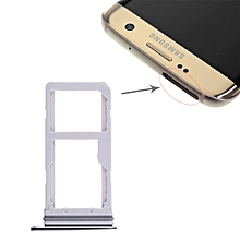 2 SIM Card Tray / Micro SD Card Tray for Galaxy S7 Edge(Black)