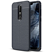 Litchi Texture TPU Protective Case for Nokia X6 (Navy Blue)