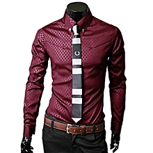 Men Fashion Luxury Business Stylish Slim Fit Long Sleeve Casual Shirt RD M- Red   M