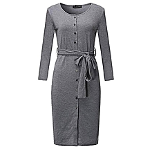 ZANZEA Elegant Women Midi Dress Long Sleeve V Neck Split Drawstring Belt Casual Solid Bodycon Dress Femininas Vestidos