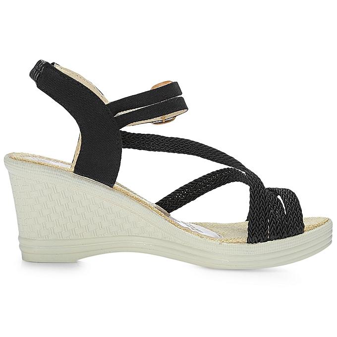 b40d4fd6d82 ... Leadsmart Trendy Open Toe Ankle Strap Buckle Women Wedge Heel Sandals
