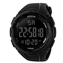 HONHX Africashop Watch  Luxury Men Analog Digital Military Army Sport LED Waterproof Wrist Watch-Black