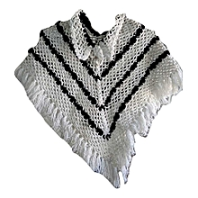 Poncho crochet work white with blacktouch