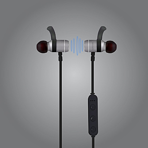 MOVE: Grey Bluetooth Lightweight Stereo Sports Earphones with Built-In Mic, Sweat Resistant, Noise Cancellation and Secure-Fit Design for Gym, Running