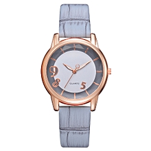 Watch Women Fashion Luxury Leisure Set Auger Leather Stainless Steel Quartz Watch -Grey